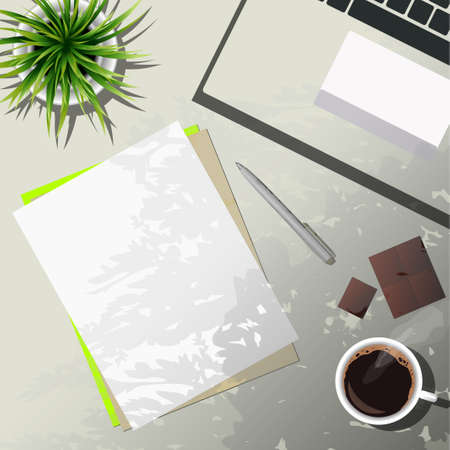 coffee and office supplies Vector illustration.