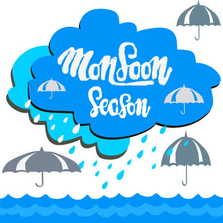 Card the monsoon Season and colorful umbrella on white background. Çizim