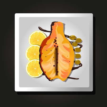 Dish of baked fish, lemons and olives