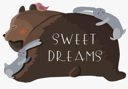 bear, rabbits and bird are fast asleep. Vector illustration with text sweet dreams.