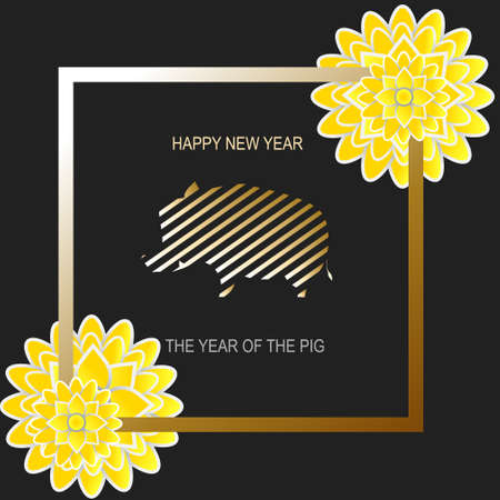 Christmas card with yellow flowers and wild boar. Year of pig. Symbol of new year. Illustration