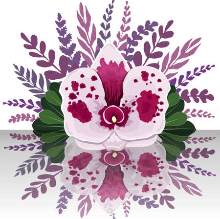 Set of white orchid and purple leaves. Vector illustration.