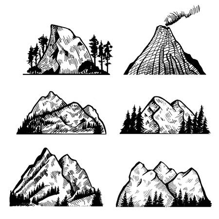 Vector collection of mountains and rocks. Vector illustration.