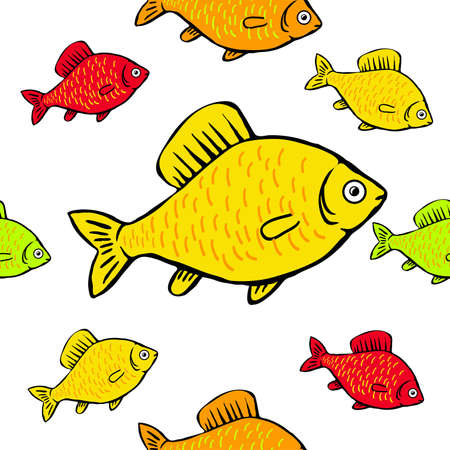 seamless pattern colored fish on a white background Illustration
