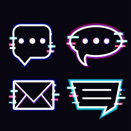 Glitch glitch style message box Illusztráció