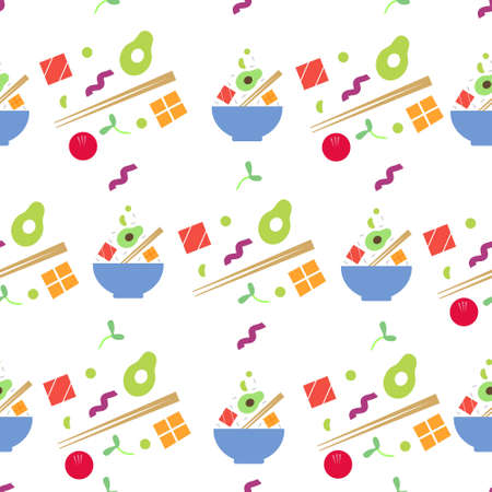 Seamless pattern with poke bowl with vegetables