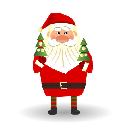 Santa Claus and Christmas tree on white background