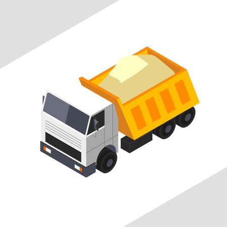 Orange dump truck carries sand. Vector isometric projection. Ilustrace