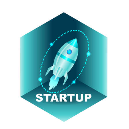Banner startup with a rocket. Vector isometric illustration. 向量圖像