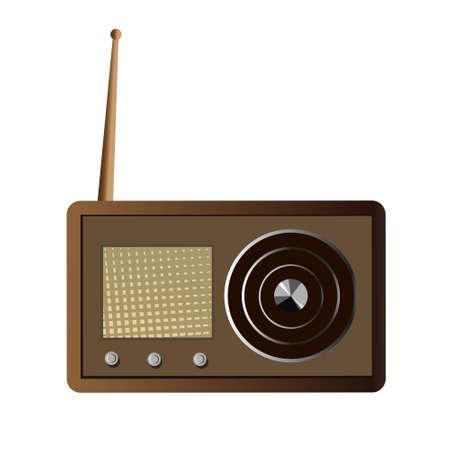 Radio in retro style isolated on white background