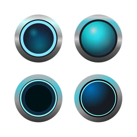 Set of circle buttons