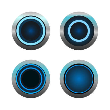 Set of vector blue circle buttons