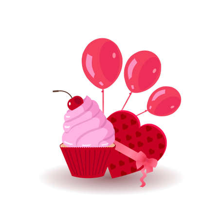 Cupcake with red balloons 向量圖像