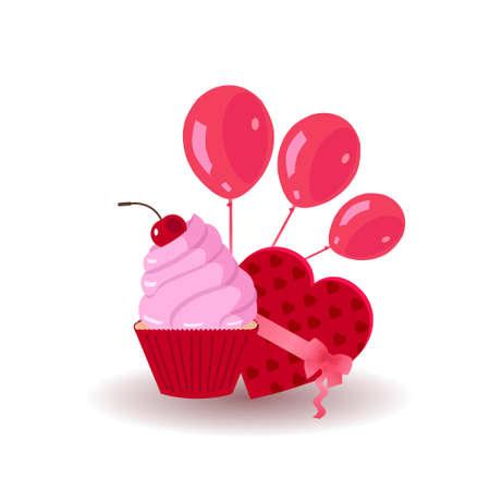 Cupcake with red balloons Ilustração