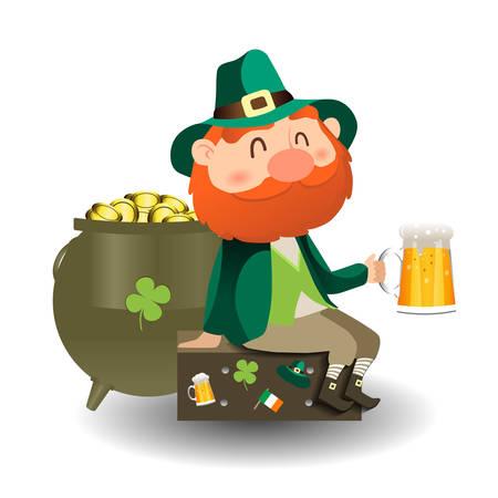 Leprechaun with a hat. St. Patricks day card.