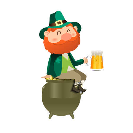 Leprechaun with a beer. St. Patricks day card.