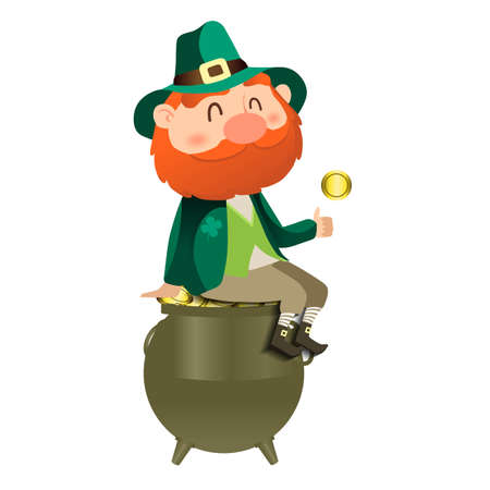 Leprechaun with a hat and a gold coin. St. Patricks day card. 向量圖像