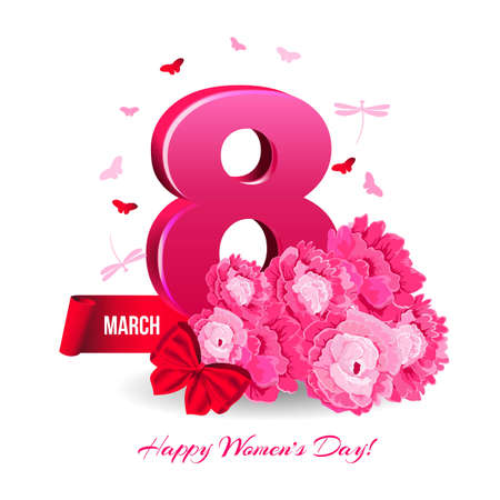 Floral banner March 8th international womens day on white background