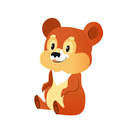 Brown bear is sitting on a white background