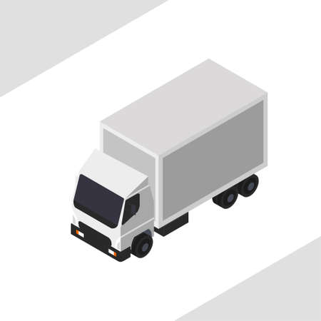 White truck in vector isometric projection. 向量圖像
