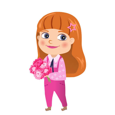 Red-haired girl in a jumpsuit with a bouquet of peonies