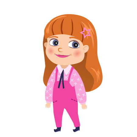 Red-haired girl in pink jumpsuit