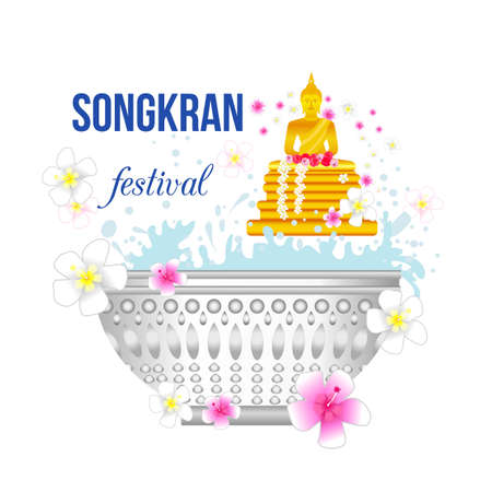 Songkran festival with Golden Buddha statue