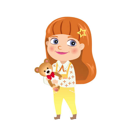 Red-haired girl with teddy bear