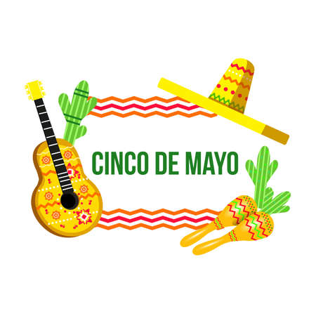 Banner Cinco de Mayo with guitar and sombrero 向量圖像