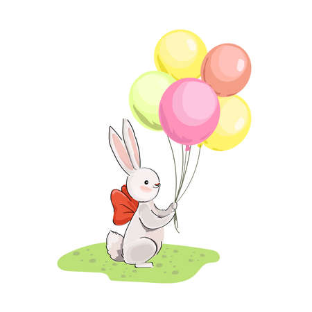 Gray bunny and colored balloons