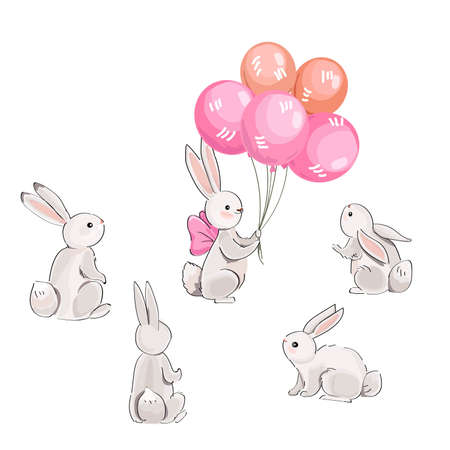 Gray hares and balloons
