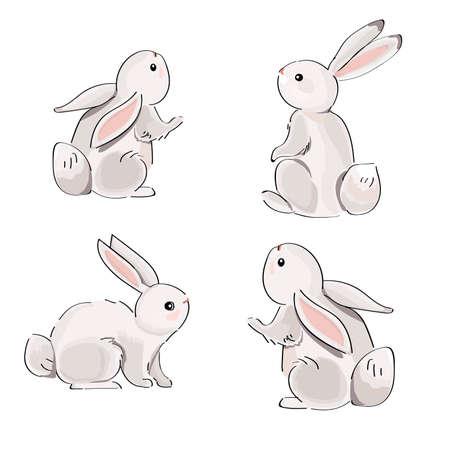 Set of gray rabbits isolated on white background