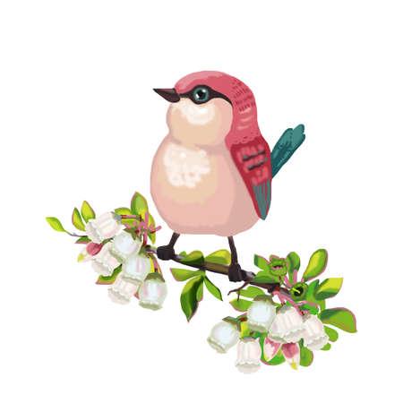 Pink bird sitting on a branch with blueberry flowers 版權商用圖片