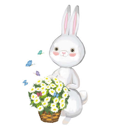 Gray hare with a basket of daisies on a white background 版權商用圖片