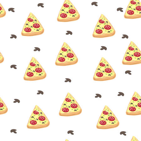 Seamless pattern with pizza on white background