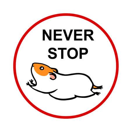 Hamster läuft auf dem Rad und hört nie auf Vektorgrafik