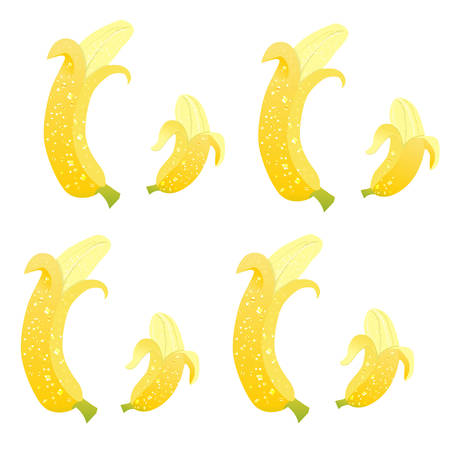 Seamless pattern with banana on white background.