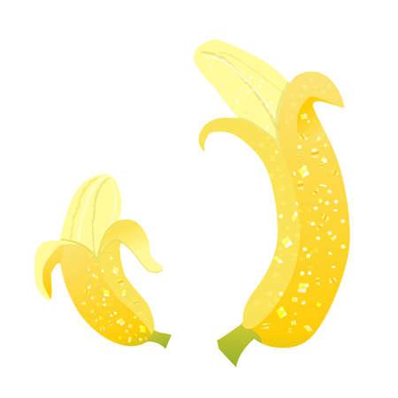 Shiny big and small bananas on white background.