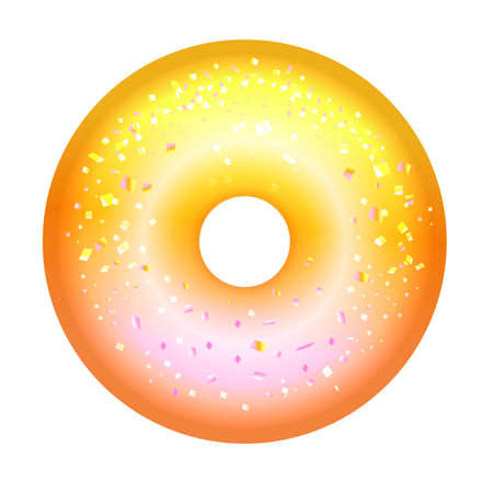 Shiny yellow donut in the gradient on a white background. 向量圖像