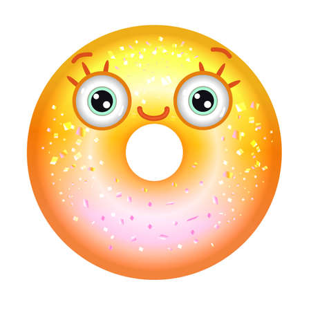 Yellow shiny donut with eyes smiling. Emoji donut in gradient. 向量圖像