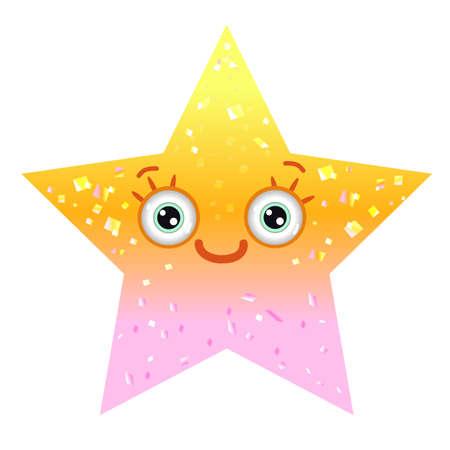 Shiny yellow star with smiling eyes. Emoji star in gradient. Ilustração