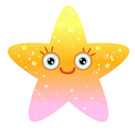 Shiny yellow star with smiling eyes. Emoji star in gradient. Stock Illustratie