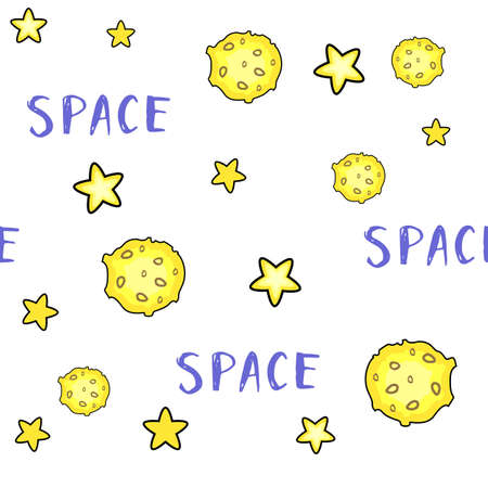 Moon and stars on white background 向量圖像