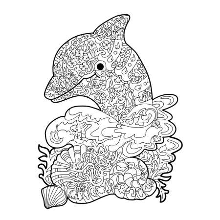 Coloring for adults-stress. Graphics illustration of a dolphin in a white background.