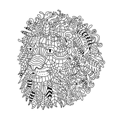 Coloring for adults-stress. Graphics illustration of lion head on white background.