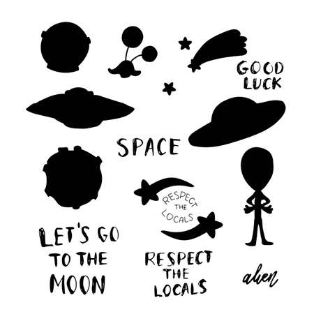 Set of space silhouettes isolated on white background.