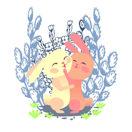 Hares hugging each other