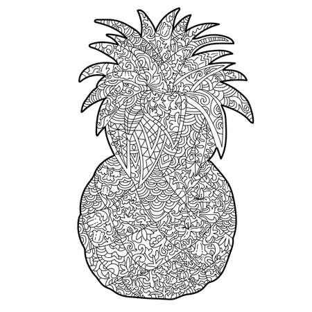 Anti stress pineapple coloring page with white patterns 向量圖像