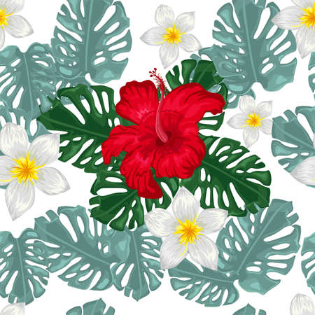 pattern with red hibiscus and palm leaves 向量圖像