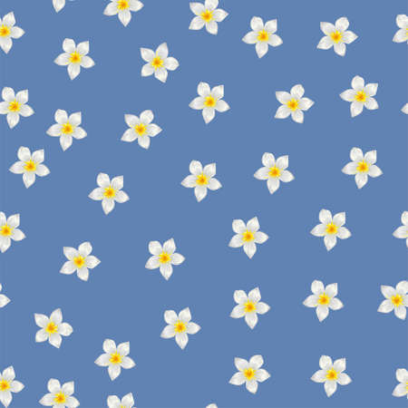 Seamless pattern with white tropical flowers on blue background